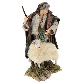 Vecchietta con pecorella per presepe Napoli stile 700 di 35 cm s4