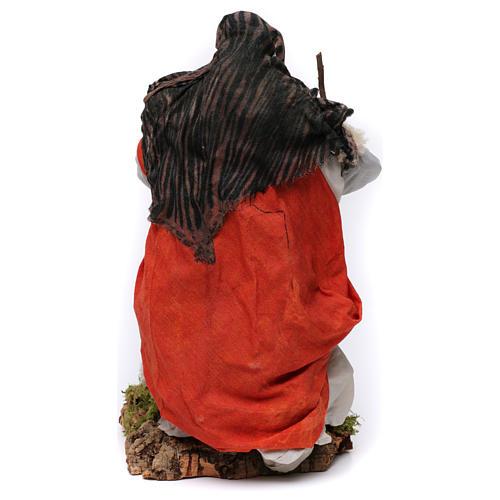 Vecchietta con pecorella per presepe Napoli stile 700 di 35 cm 5