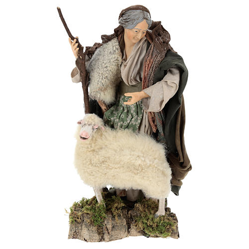 Vecchietta con pecorella per presepe Napoli stile 700 di 35 cm 1
