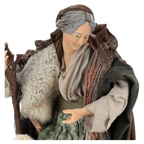 Vecchietta con pecorella per presepe Napoli stile 700 di 35 cm 2