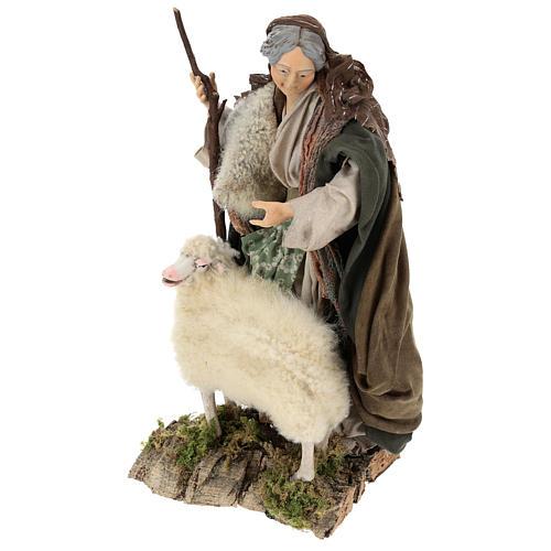 Vecchietta con pecorella per presepe Napoli stile 700 di 35 cm 3