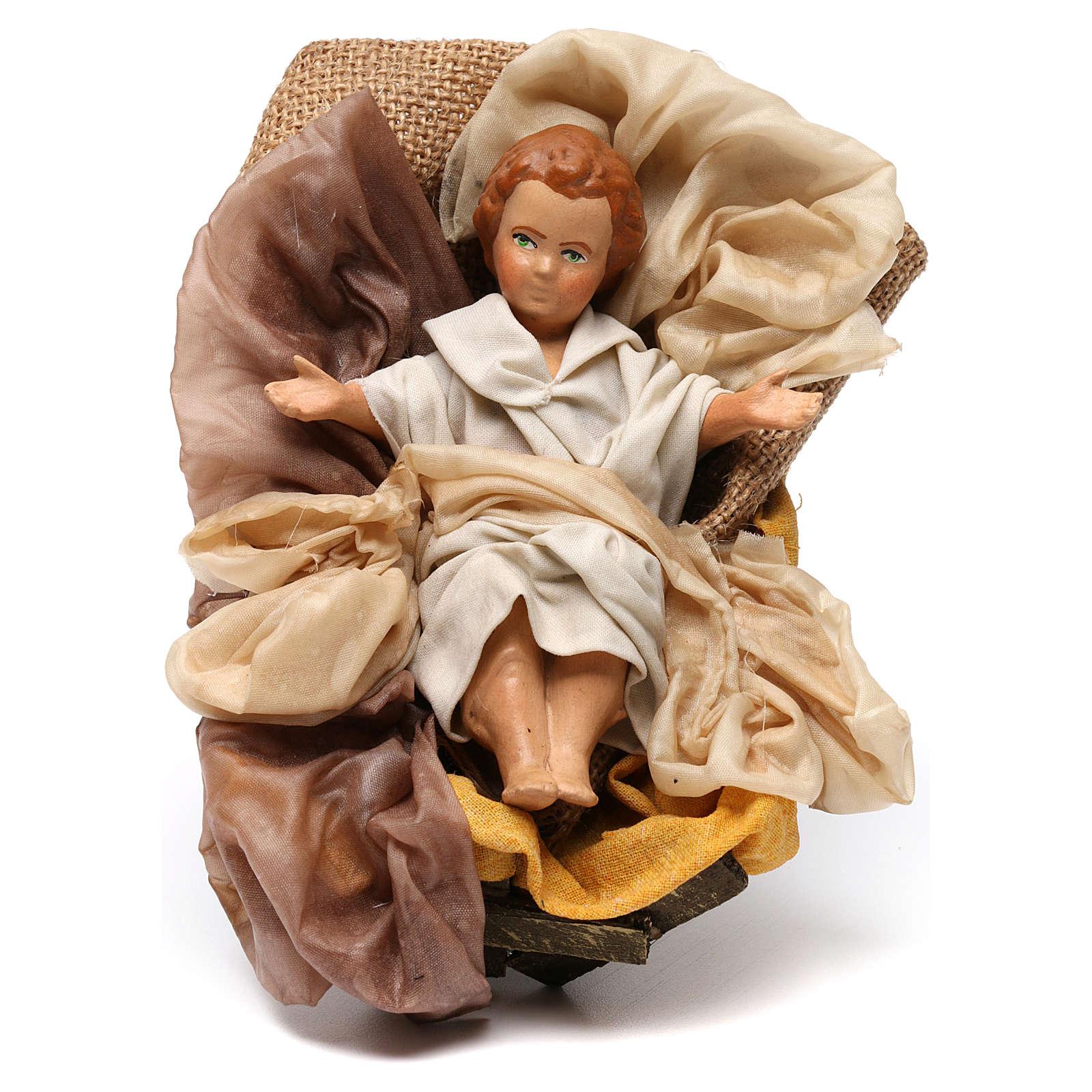 Gesù bambino in culla per presepe napoletano stile 700 30 cm 4