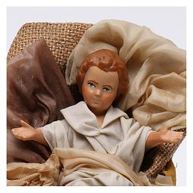 Gesù bambino in culla per presepe napoletano stile 700 30 cm s2