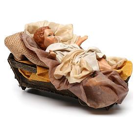 Gesù bambino in culla per presepe napoletano stile 700 30 cm s4