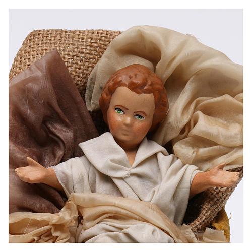Gesù bambino in culla per presepe napoletano stile 700 30 cm 2