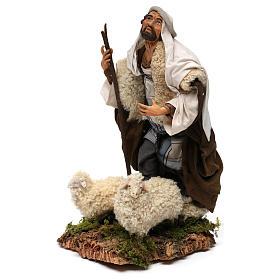 Ovejero con dos ovejas para belén Nápoles estilo 700 de 30 cm de altura media s3