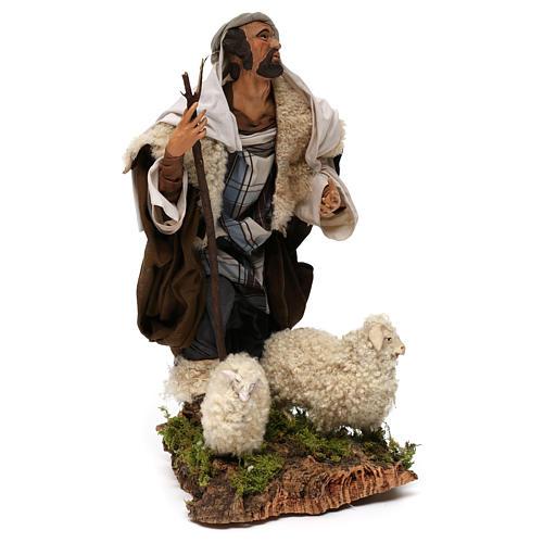 Ovejero con dos ovejas para belén Nápoles estilo 700 de 30 cm de altura media 4