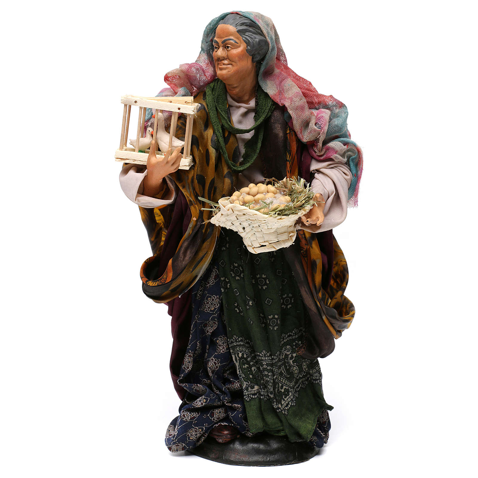 Mujer con cesta de huevos y ganso para belén Nápoles estilo 700 de 30 cm de altura media 4