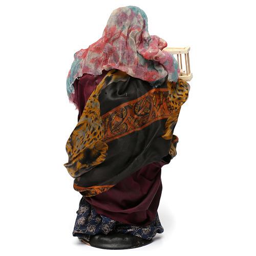 Mujer con cesta de huevos y ganso para belén Nápoles estilo 700 de 30 cm de altura media 5