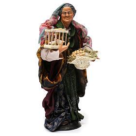 Donna con cesto di uova e oche per presepe Napoli stile '700 di 30 cm s4