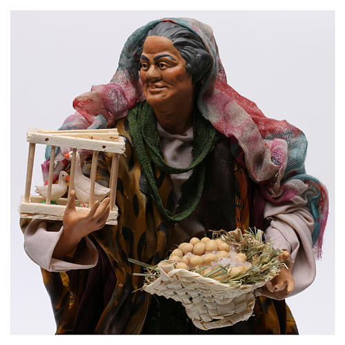 Donna con cesto di uova e oche per presepe Napoli stile '700 di 30 cm 2