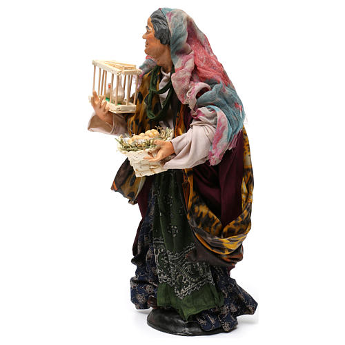 Donna con cesto di uova e oche per presepe Napoli stile '700 di 30 cm 3