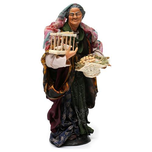 Donna con cesto di uova e oche per presepe Napoli stile '700 di 30 cm 4