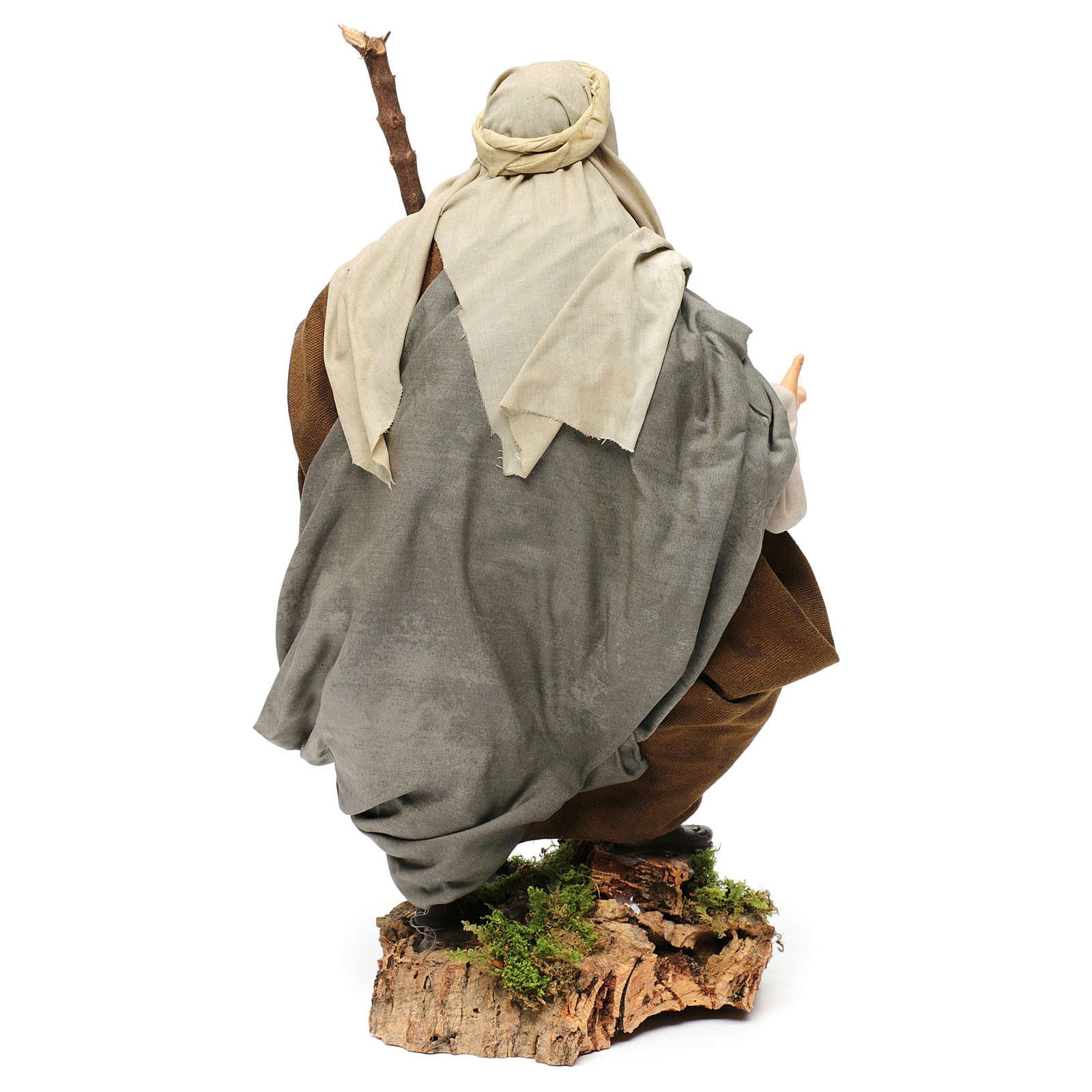 Shepherd with Walking Stick in hand for nativity Neapolitan style 700s of 30 cm 4