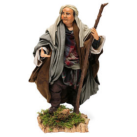 Shepherd with Walking Stick in hand for nativity Neapolitan style 700s of 30 cm s1