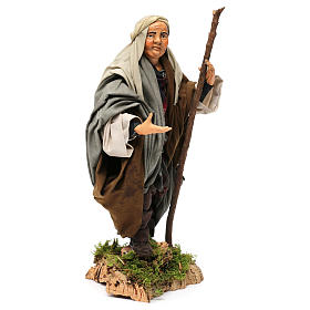 Shepherd with Walking Stick in hand for nativity Neapolitan style 700s of 30 cm s4