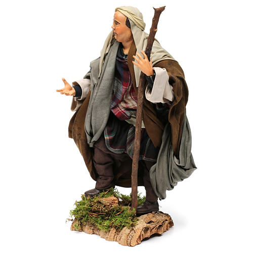 Shepherd with Walking Stick in hand for nativity Neapolitan style 700s of 30 cm 3