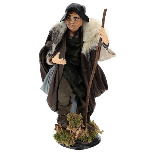 Shepherd with Walking Stick in hand for nativity Neapolitan style 700s of 30 cm 1