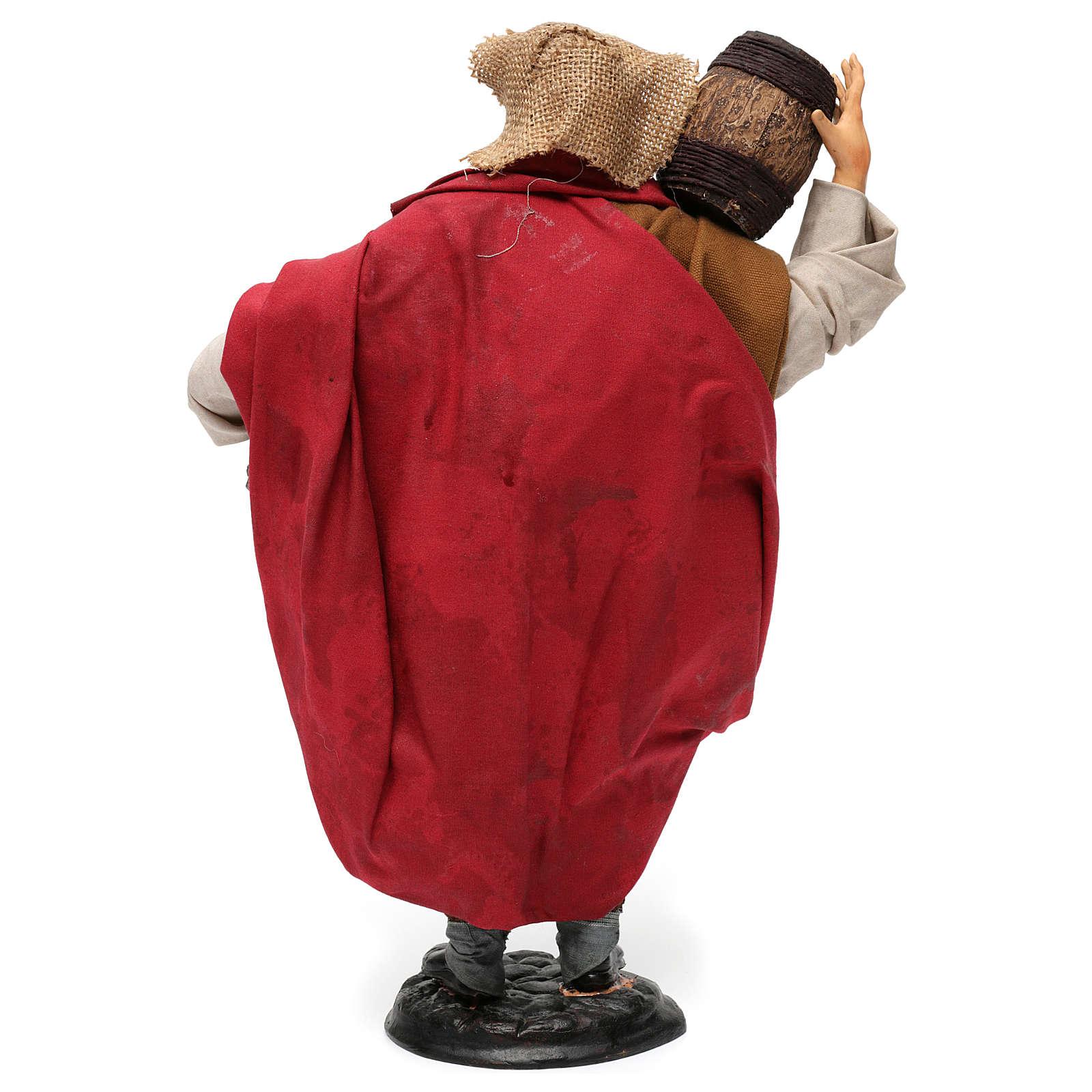 Uomo con botti di vino per presepe napoletano stile '700 di 30 cm 4