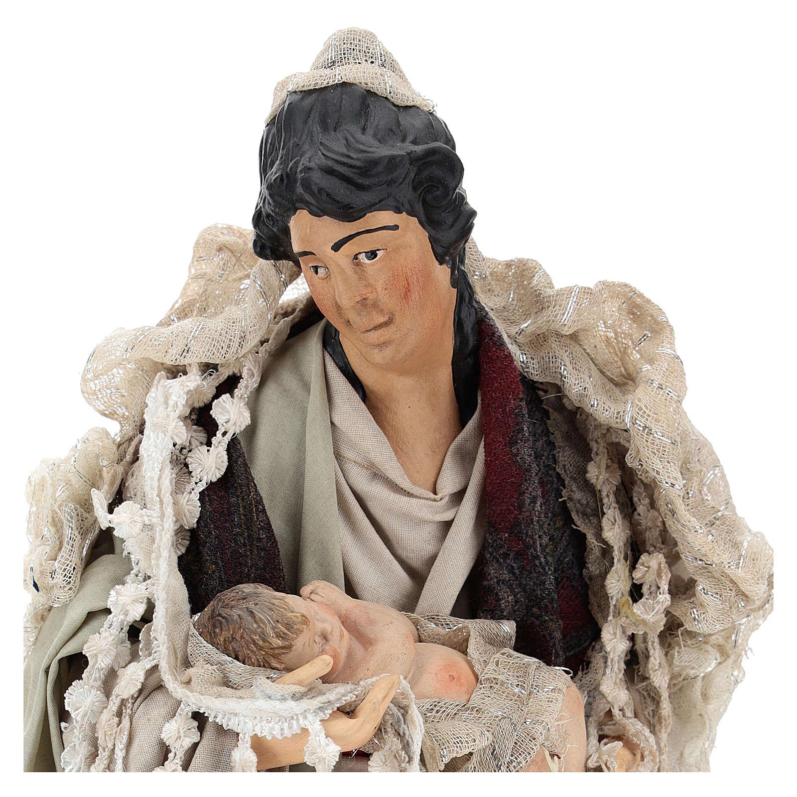 Mamma con bimbo in braccio per presepe Napoli stile 700 di 30 cm 4