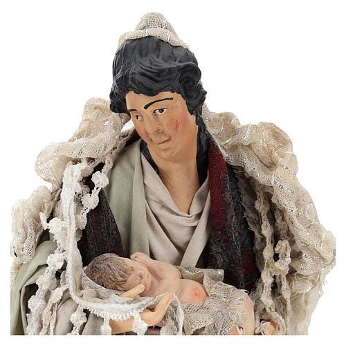 Mamma con bimbo in braccio per presepe Napoli stile 700 di 30 cm 2