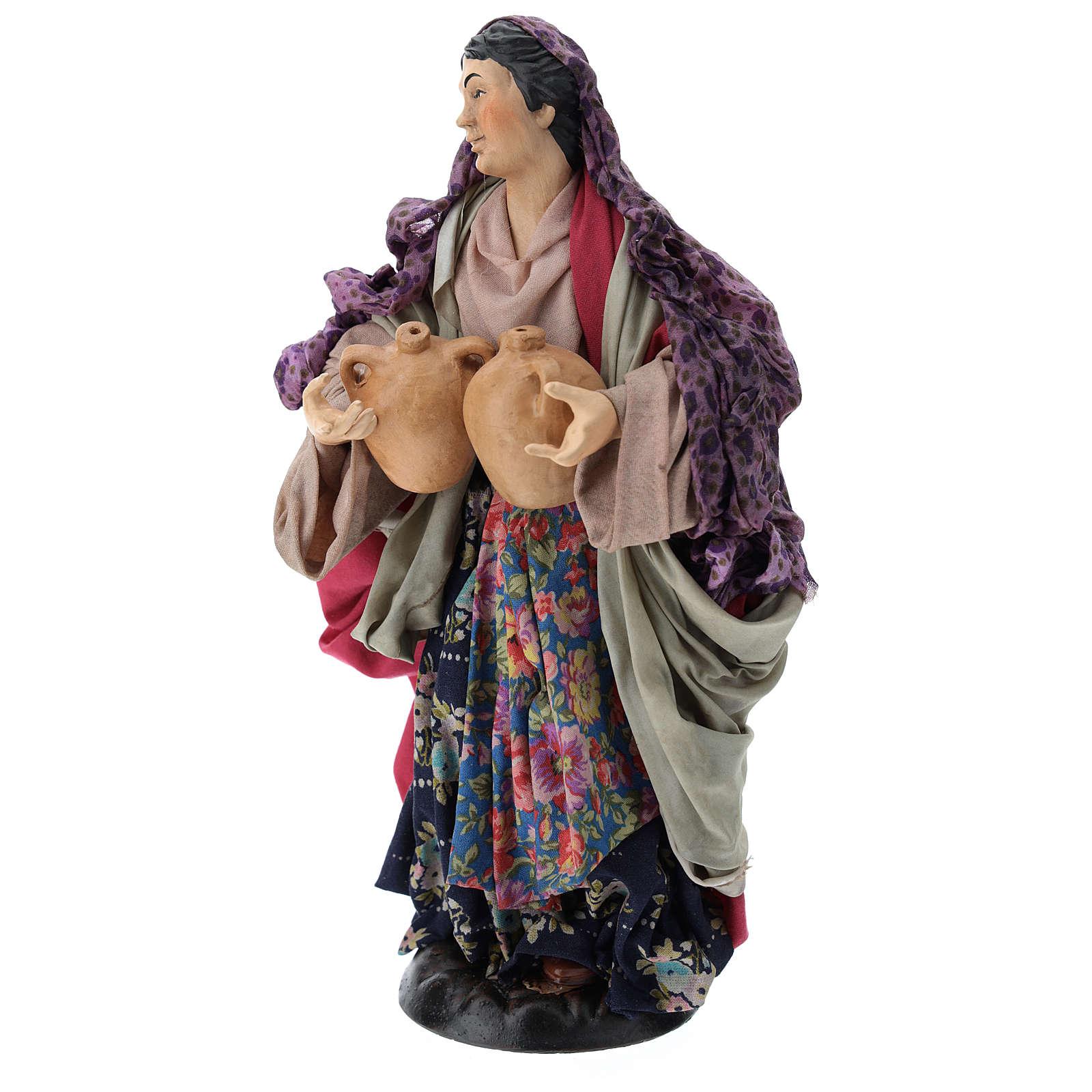 Pastora con ánforas en mano para belén Nápoles estilo 700 de 30 cm de altura media 4
