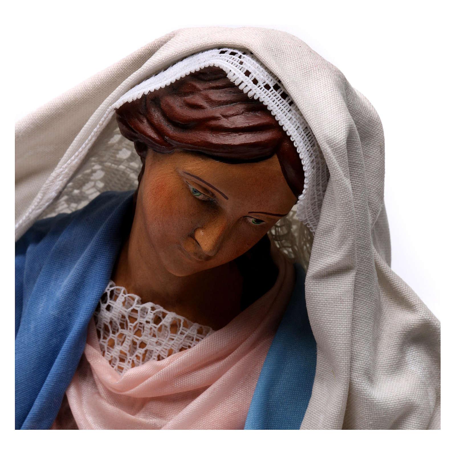 Madonna seduta in terracotta per presepe Napoli stile 700 di 30 cm 4