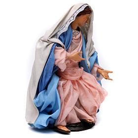 Madonna seduta in terracotta per presepe Napoli stile 700 di 30 cm s4