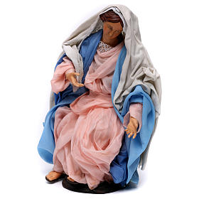 Madonna Sitting 30 cm in Terracotta for Nativity from Naples style 700 s3