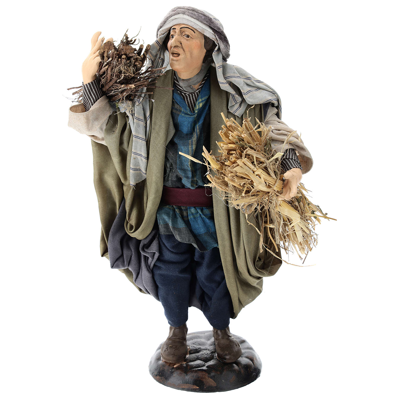 Shepherd with straw for Neapolitan nativity scene 30 cm 4