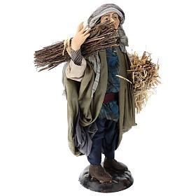 Shepherd with straw for Neapolitan nativity scene 30 cm s4