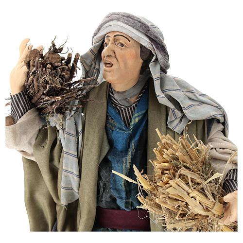 Shepherd with straw for Neapolitan nativity scene 30 cm 2