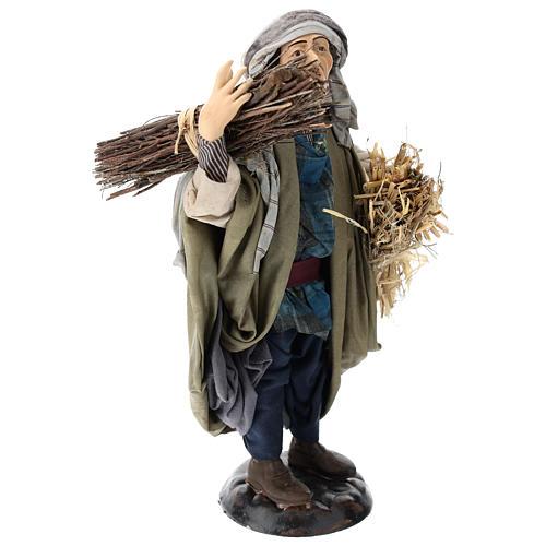 Pastor con fajinas de paja para belén Nápoles estilo 700 de 30 cm de altura media 4