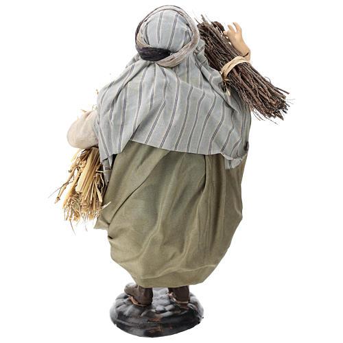 Pastor con fajinas de paja para belén Nápoles estilo 700 de 30 cm de altura media 5