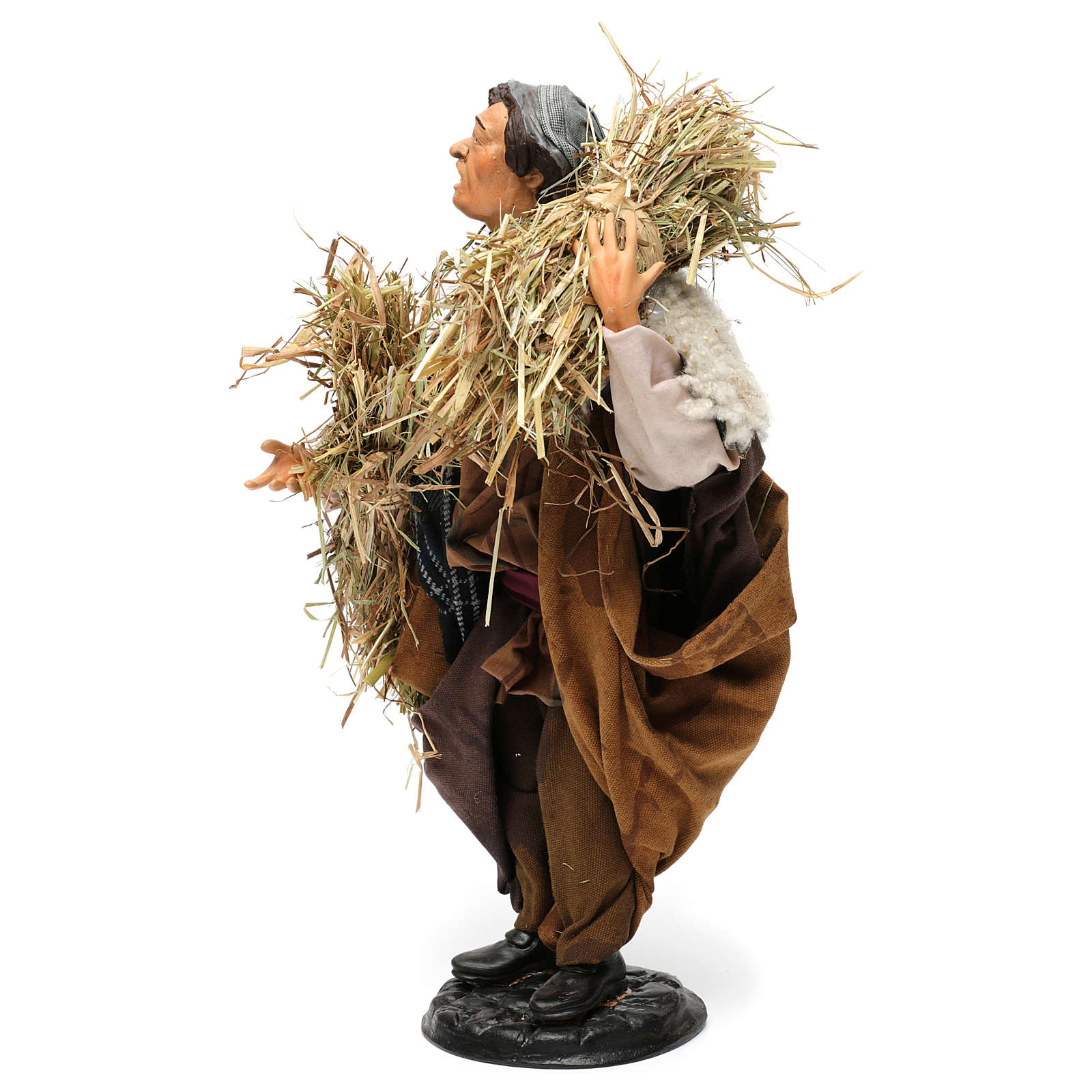 Pastore con fascine di paglia per presepe Napoli stile 700 di 30 cm  4
