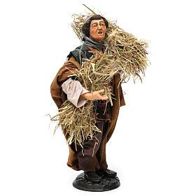 Pastore con fascine di paglia per presepe Napoli stile 700 di 30 cm  s4