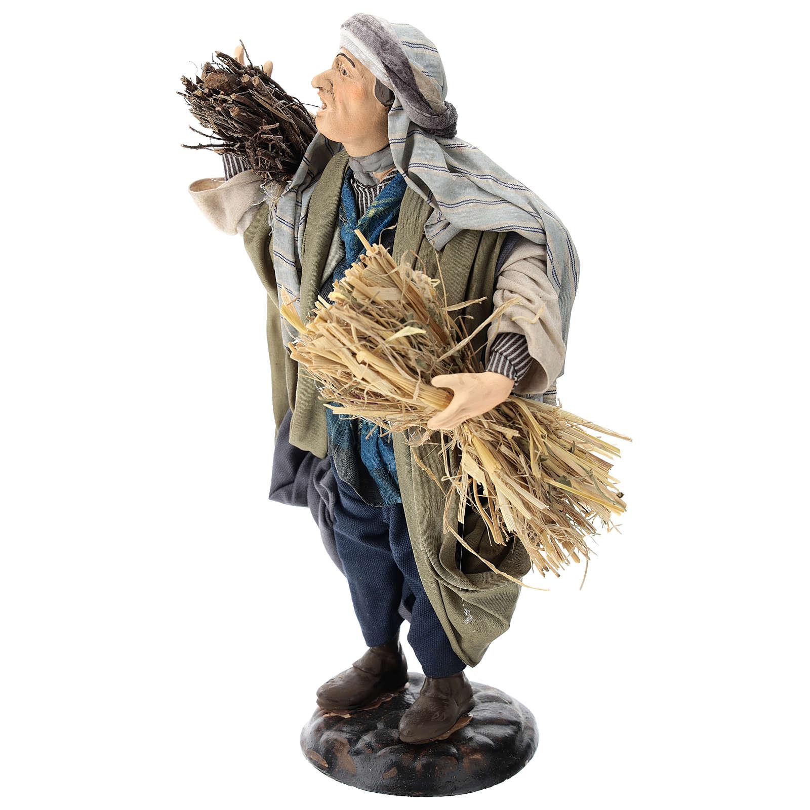 Shepherd with bundles of straw for Neapolitan nativity style 700 of 30 cm 4