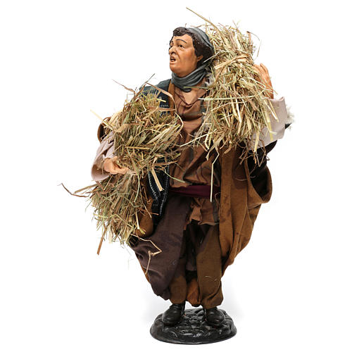Shepherd with bundles of straw for Neapolitan nativity style 700 of 30 cm 1