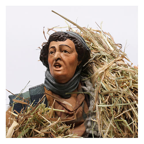 Shepherd with bundles of straw for Neapolitan nativity style 700 of 30 cm 2