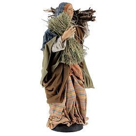 Mujer con fajina de paja para belén Nápoles estilo 700 de 30 cm de altura media s4