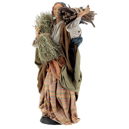 Mujer con fajina de paja para belén Nápoles estilo 700 de 30 cm de altura media 3
