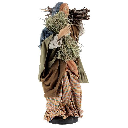 Mujer con fajina de paja para belén Nápoles estilo 700 de 30 cm de altura media 4