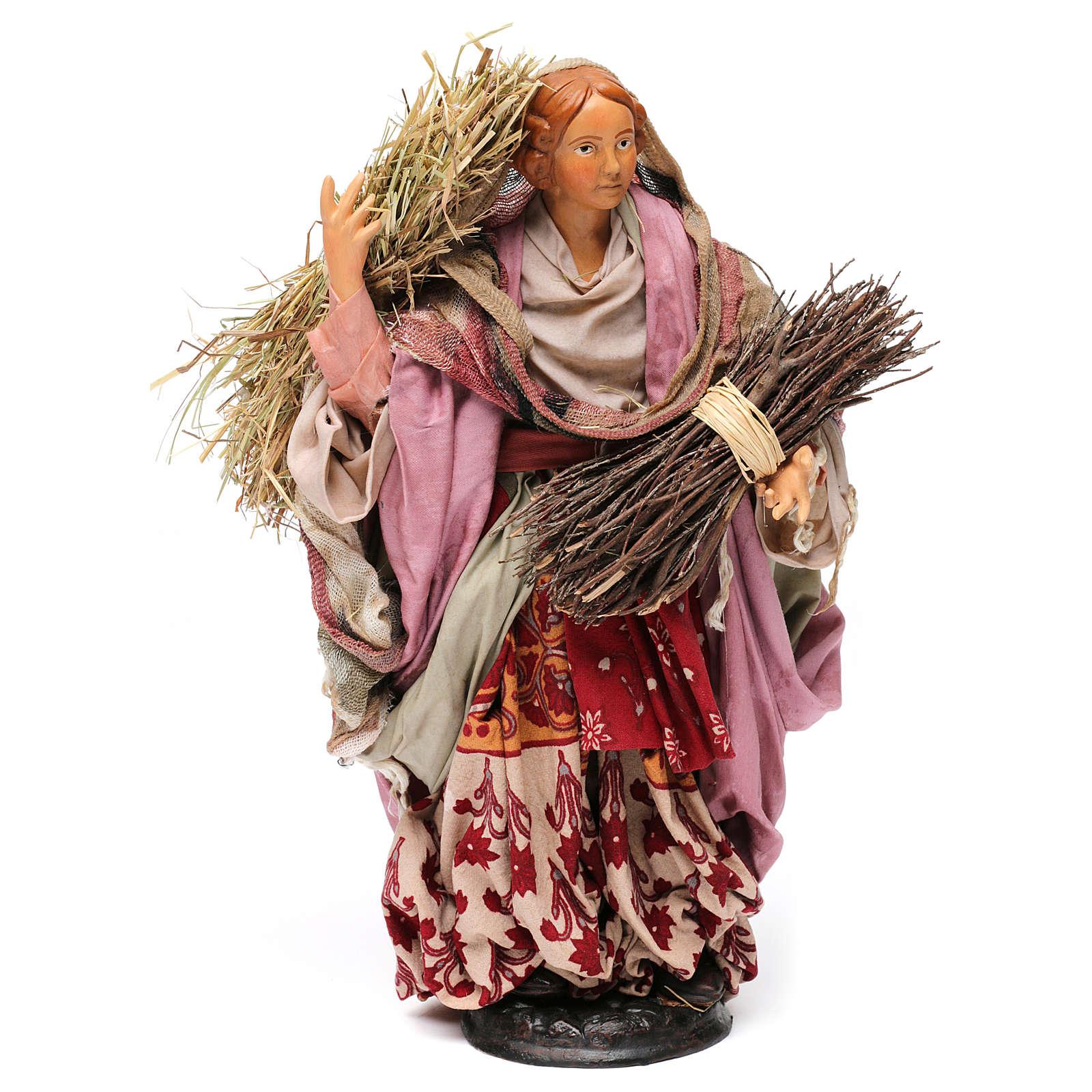 Donna con fascina e paglia per presepe Napoli stile '700 di 30 cm  4