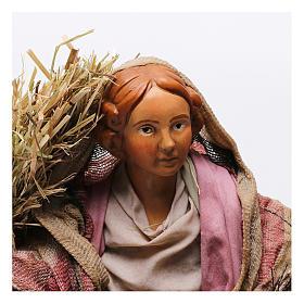 Donna con fascina e paglia per presepe Napoli stile '700 di 30 cm  s2