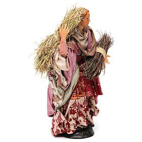 Donna con fascina e paglia per presepe Napoli stile '700 di 30 cm  s4
