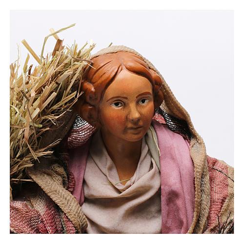 Donna con fascina e paglia per presepe Napoli stile '700 di 30 cm  2
