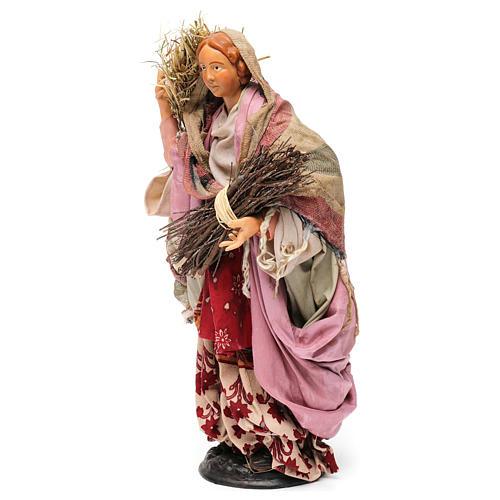 Donna con fascina e paglia per presepe Napoli stile '700 di 30 cm  3