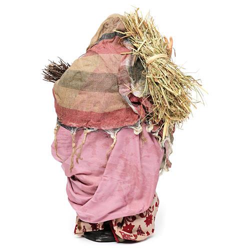 Donna con fascina e paglia per presepe Napoli stile '700 di 30 cm  5