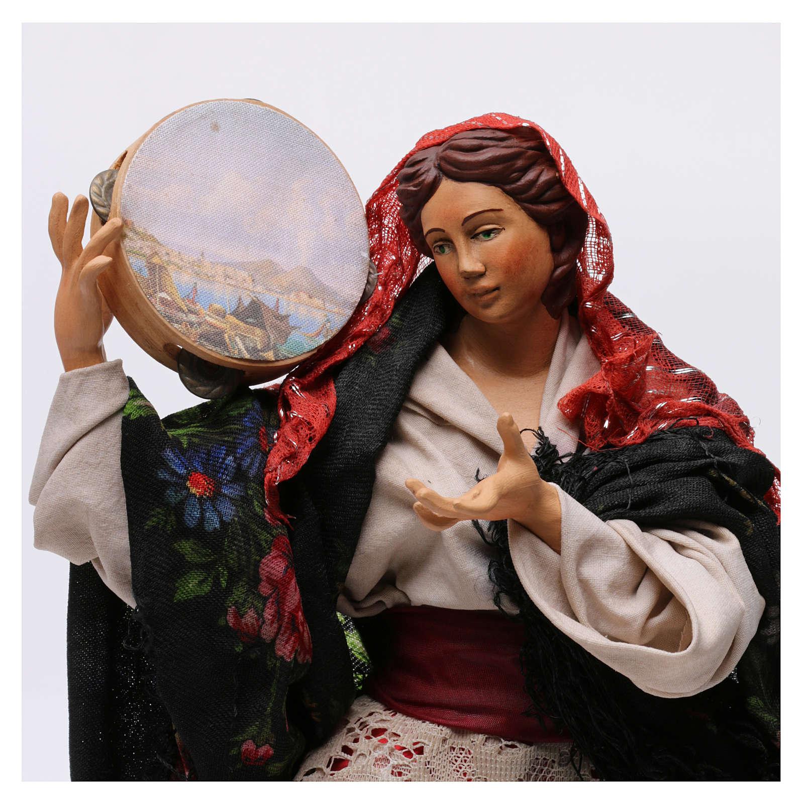 Danzatrice con tamburello per presepe Napoli stile '700 di 30 cm 4