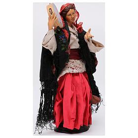 Danzatrice con tamburello per presepe Napoli stile '700 di 30 cm s4